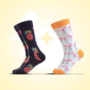 Meia estampada Abacaxi e flamingo- Kit 2x1