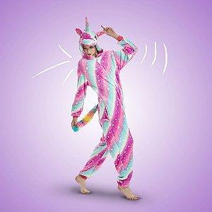 Pijama Macacão Unicórnio Listras