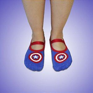 Meia sapatilha antiderrapante Capitão América