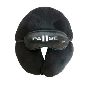 Almofada de pescoço Preto Liso + tapa olho
