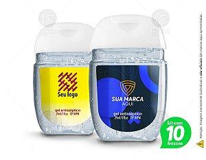Kit com 10 Álcool em gel 70º - 29ml personalizado com seu nome ou marca