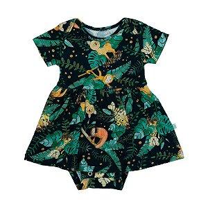 Vestido BioBaby Bebê Animais Aquarelados