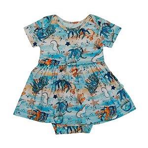 Vestido BioBaby Bebê Fundo do Mar