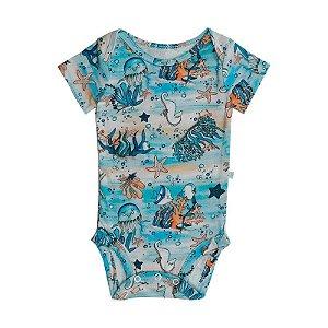 Body BioBaby Bebê Manga Curta Fundo Do Mar