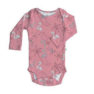 Body Biobaby Bebê Manga Longa Flamingo