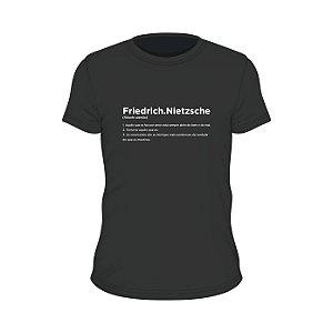 Camiseta preta verbete Friedrich Nietzsche