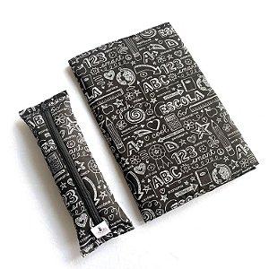 KIT Leitor - Bolsa + Estojo marcador + Capa protetora_Estampa quadro negro