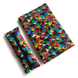 KIT Bolsa + Estojo marcador + Capa protetora_Estampa triângulos coloridos