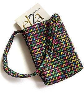 Bolsa para livros_Estampa zig-zag coloridos