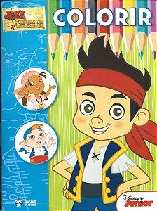 Jake e os Piratas da Terra do Nunca - KIT com revista para colorir + giz de cera + BRINDE Skate de dedo radical