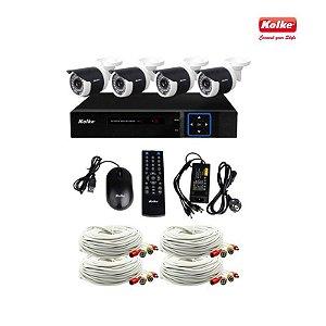 Kit de CFTV 2MP Kolke 1 Dvr 8 Canais 4 Câmeras 4 Cabos 1 Fonte 1 Mouse KUK-077