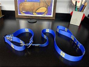 Guia para Cachorro Satin Control Azul com Trevo Dourado LuckyPet