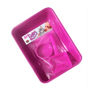 Kit para Gatos 3 Peças Bandeja Pá Higiênica e Comedouro Rosa Furacão Pet