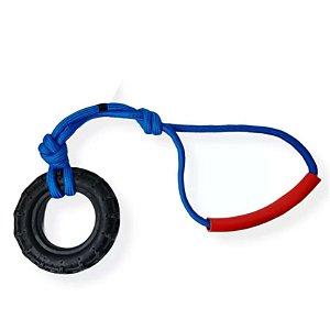 Brinquedo para Cachorro Puxador Pneu com Corda Azul Furacão Pet