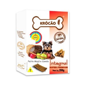 Biscoito Natural para Cachorro Palito Maça e Canela 200g Krocão