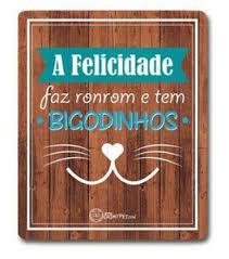 Placa Decorativa - Felicidade Bigodinhos - CatMyPet