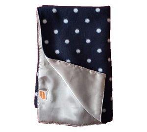 Manta Cobertor e Cetim Dupla Face Bolinhas Branca e Azul - ZenPet