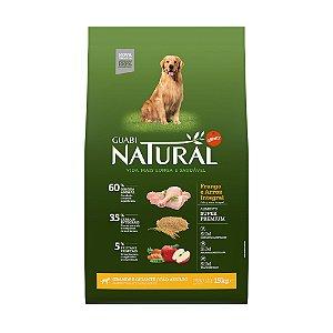 Ração Natural Frango e Arroz Integral para Cães Adultos Gigante e Grande Porte - Guabi Natural