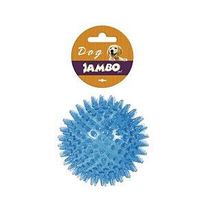 Brinquedo para Cachorro Bola Espinho com Som Azul G Jambo Pet