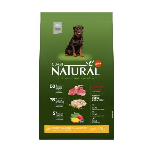 Ração Guabi Natural para Cães Grandes e Gigantes Cordeiro e Aveia 15Kg
