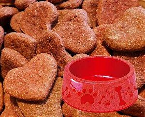 Kit Biscoito para Cachorro Coração Bovino Baba Cão 250g com Pote