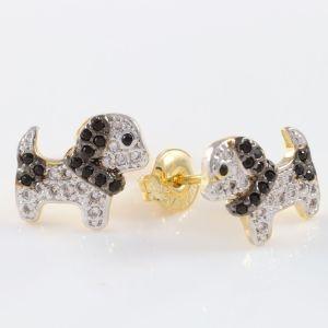 Brinco Folheado a Ouro 18k Cachorro, com Zircônias Cristal e Ônix Cravadas