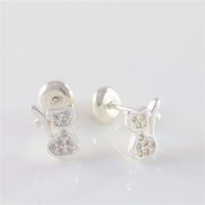 Brinco Prata de Lei (925/950) Infantil, Gato com Zircônias Cristal Cravadas, Tarraxa Baby