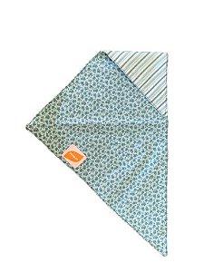 Bandana para Cachorro Dupla Face Floral Azul Listrado Zenpet
