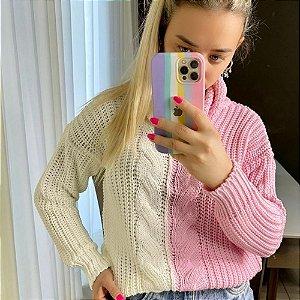 Blusa manga longa em tricot Amanda - BICOLOR