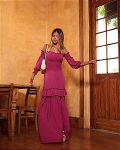 Vestido manga longa Alinne - FÚCSIA