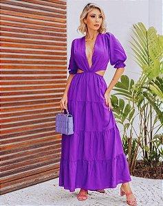 Vestido longo em viscolinho Sia