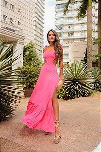Vestido longo em fluit de poliamida Valentina - PINK NEON