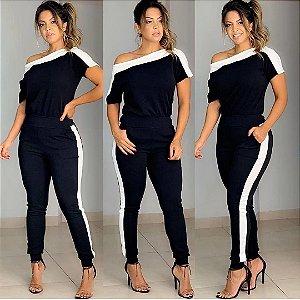 Conjunto de calça e blusa ombro a ombro em crepe com elastano