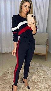 Conjunto de calça e blusa de manga longa em malha crepe com elastano
