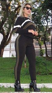 Conjunto de calça e blusa de manga longa em malha crepe encorpada com elastano