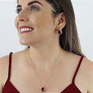 Conjunto de colar e brincos gota de zircônia vermelho rubi folheado a ouro 18k