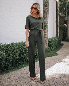 Conjunto de calça e blusa em moletinho de viscose com elastano - VERDE MILITAR