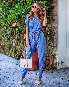 Conjunto de calça e blusa em linho com elastano