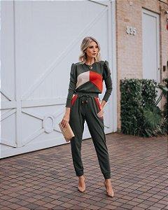 Conjunto de calça e blusa manga longa em linho com elastano