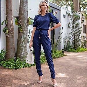 Conjunto de calça e blusa em malha canelada com elastano - AZUL MARINHO