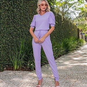 Conjunto de calça e blusa em malha canelada com elastano- LAVANDA