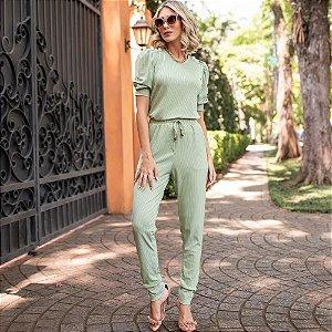 Conjunto de calça e blusa em malha canelada com elastano - VERDE