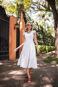 Vestido midi em Laise - OFF WHITE