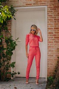 Conjunto de calça e blusa em malha canelada manga princesa - MELANCIA