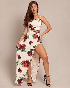 Conjunto de cropped e saia longa com fenda em viscolycra floral