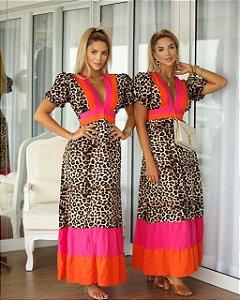 Vestido longo Ticiane - ANIMAL PRINT