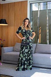 Vestido longo Catherine - PRETO ESTAMPADO