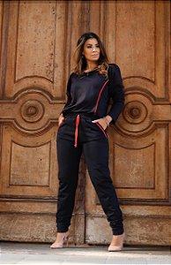 Conjunto de calça e blusa manga longa em moletinho - PRETO