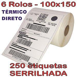 Etiqueta Térmica 100x150 Serrilhada - 6 Rolos
