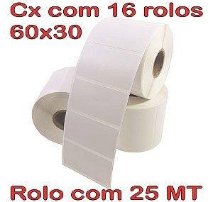 Etiqueta 60x30 Térmica - 16 Rolos - 25 Metros